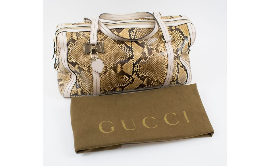 Lot 487 GUCCI CRYSTAL DUCHESSA PYTHON SKIN BOSTON BAG   Estimate: £600-900