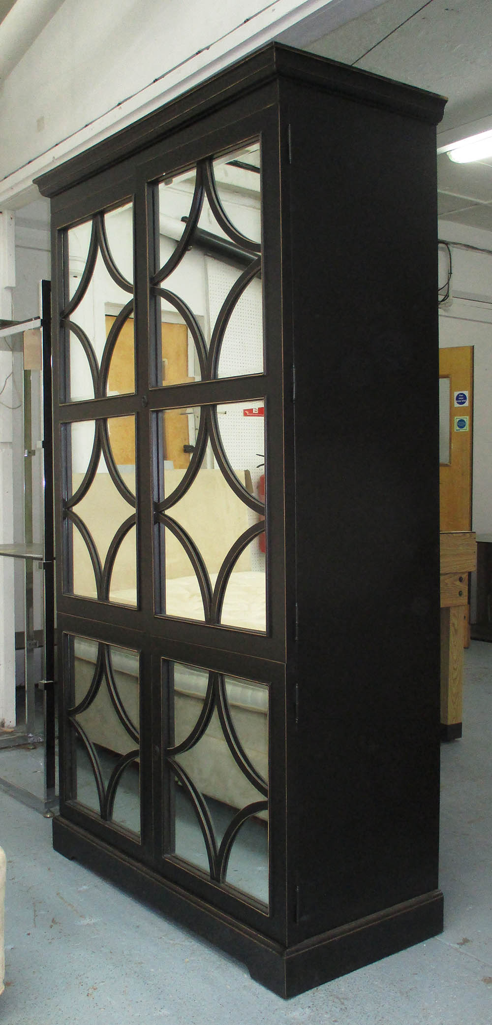 TALL CABINET, black with a pair of mirrored doors with ...