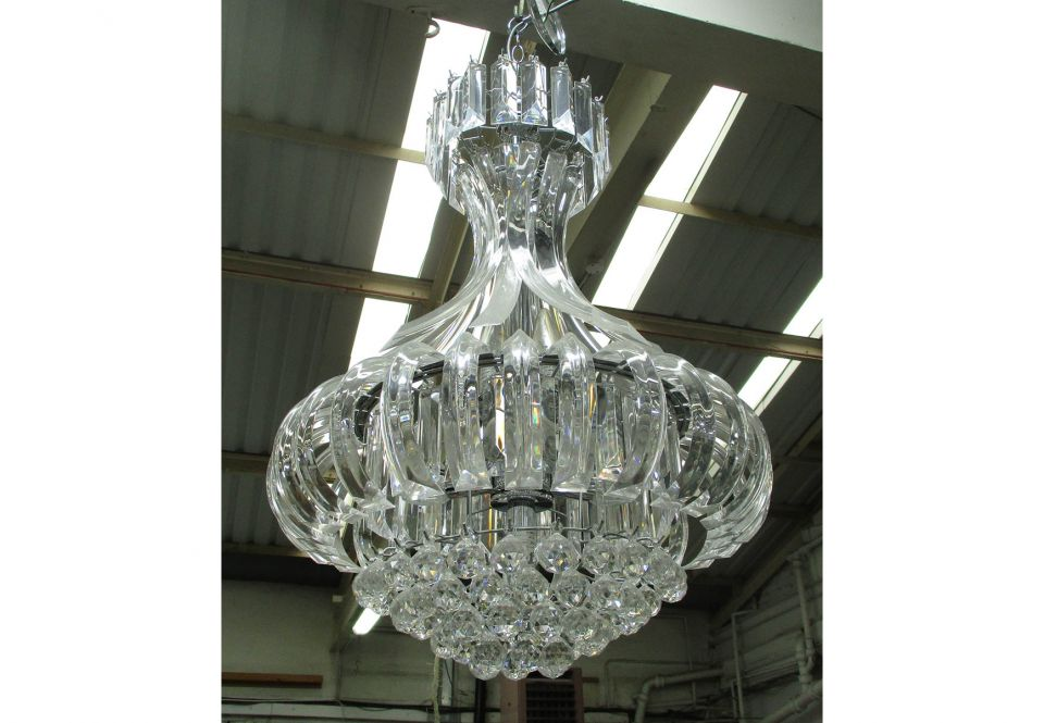 Chandeliers a pair curved perspex approx 85cm h and a smaller one image image image aloadofball Choice Image
