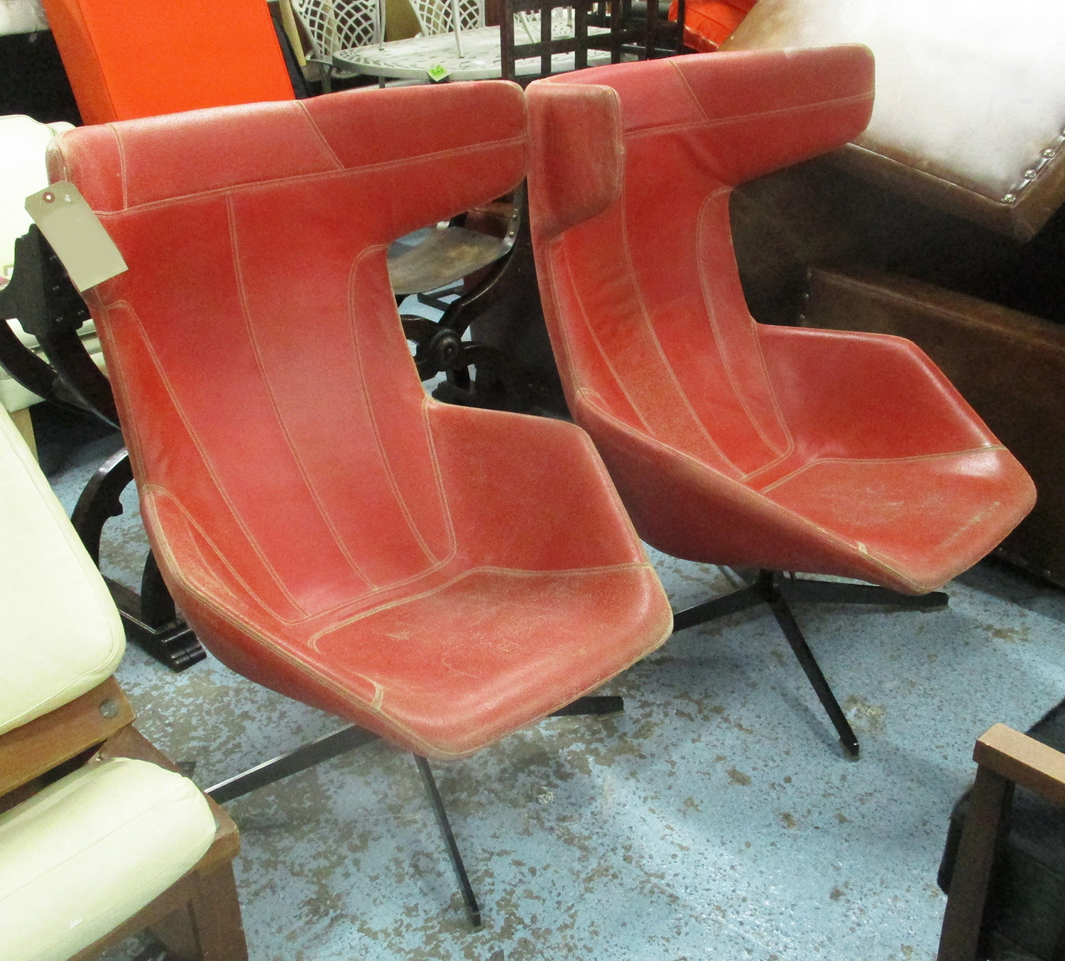 Moroso Swivel Chairs A Pair Red From The Conran Shop