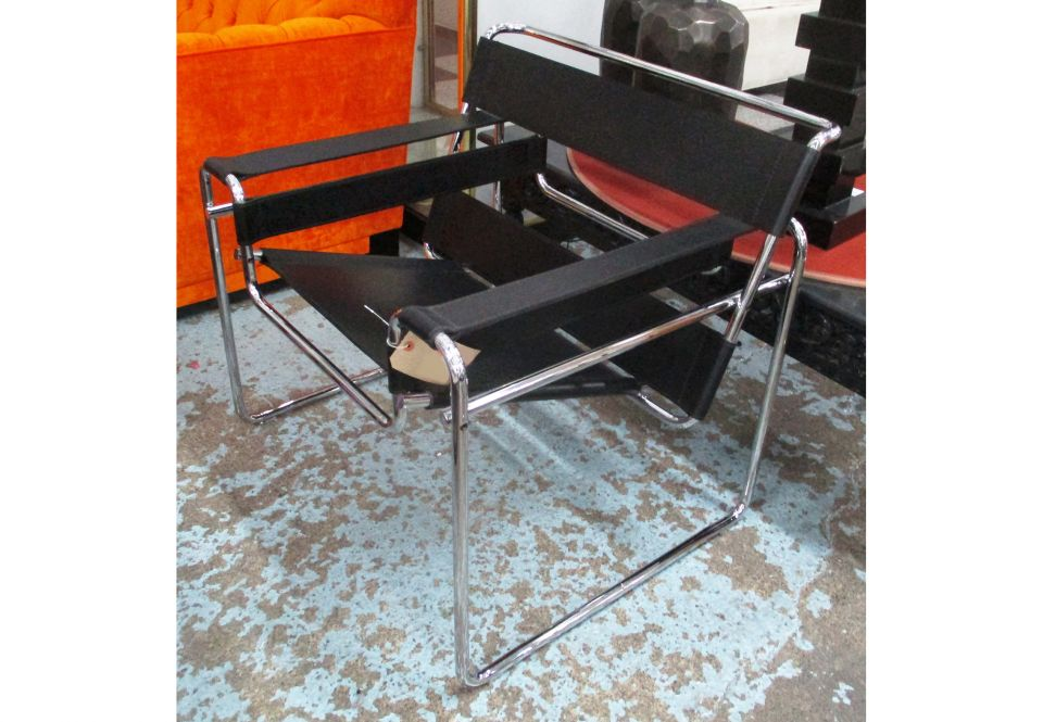 Wassily Chair By Knoll Designed By Marcel Breuer 1925 In Black Leather On Chromed Metal