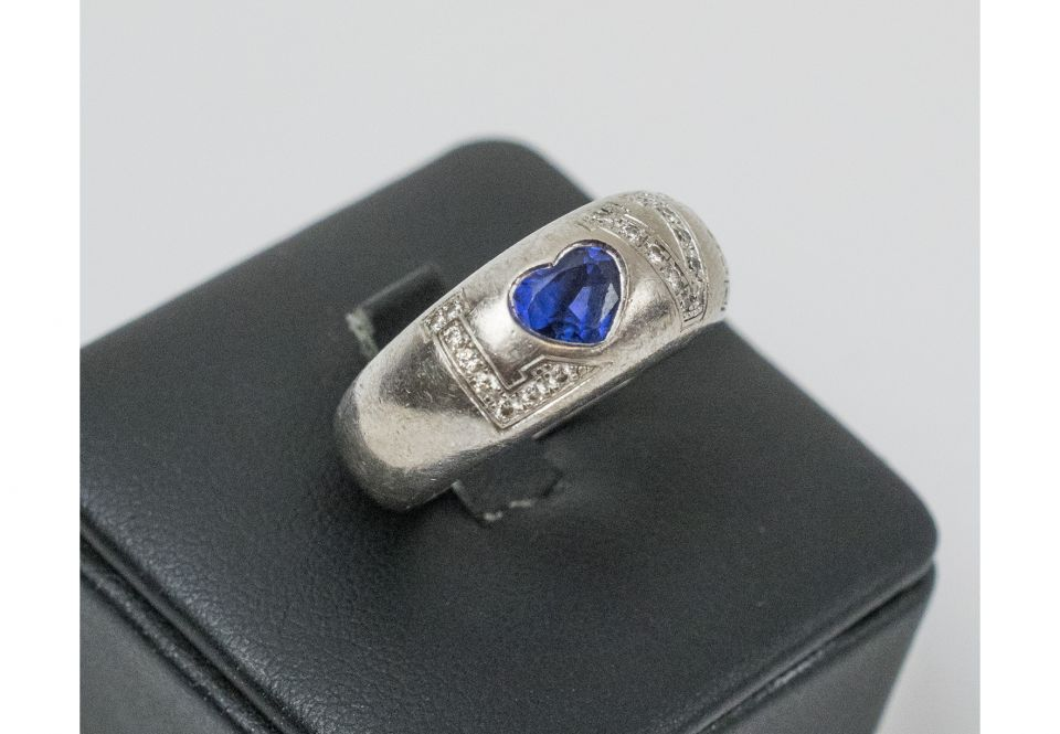 7694a01c102da CHOPARD 18K white Gold, sapphire and diamond set 'Love' ring. Size 'L'