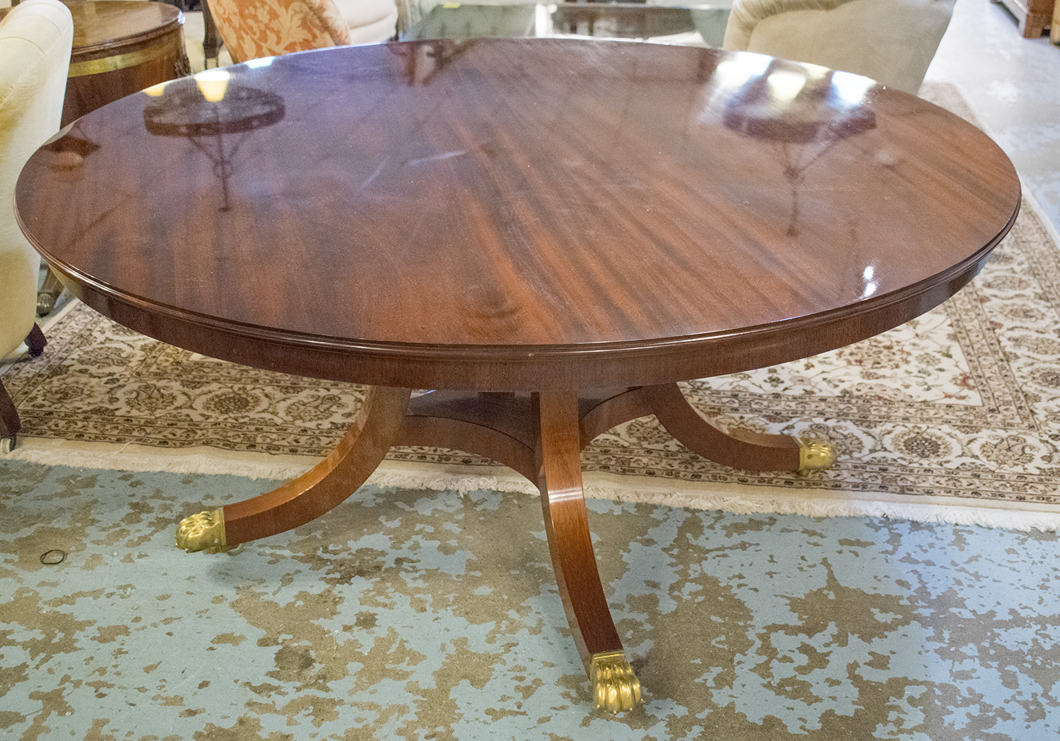 Extending Circular Dining Table Regency Style Figured Mahogany Jupe Leaves And Splay Supports 72cm H X 158cm D 230cm Extended