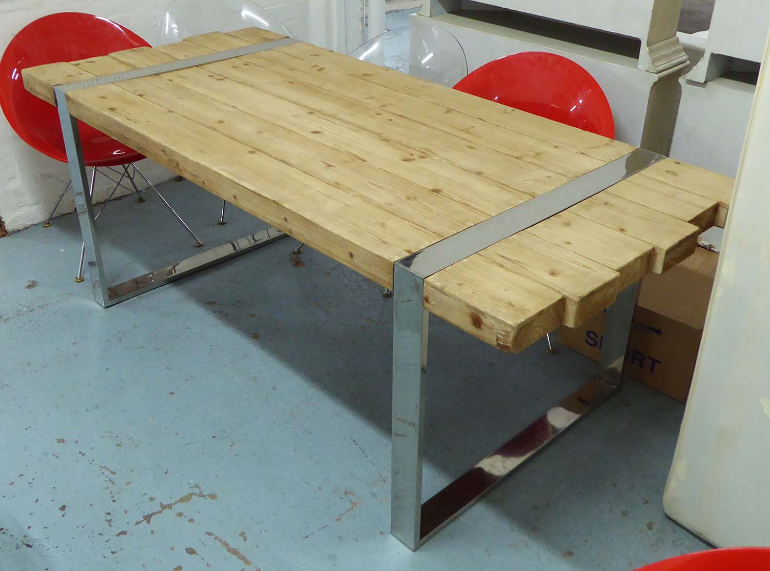 Plank 90 Cm.Dining Table Plank Top With Chrome Supports Contemporary Style