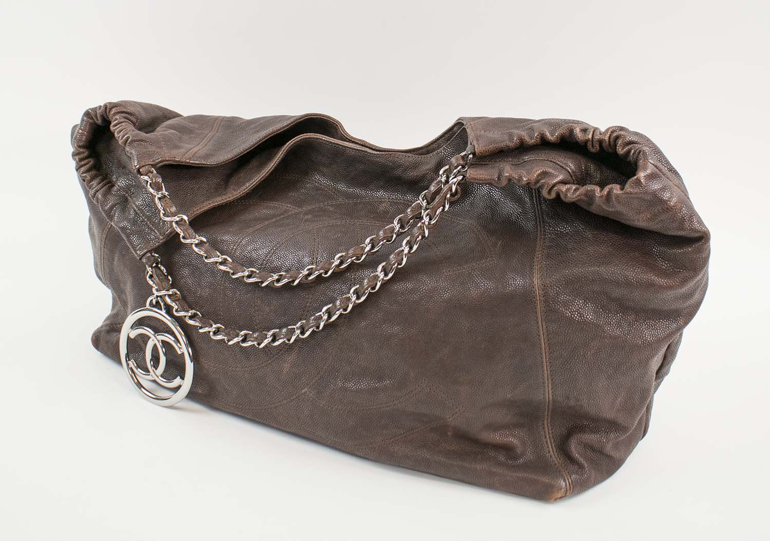1c7855af3aef CHANEL COCO CABAS HOBO BAG, brown leather grain with silver tone charm,  leather and chain shoulder strap, logo embossed, fabric lining, inside  sticker ...