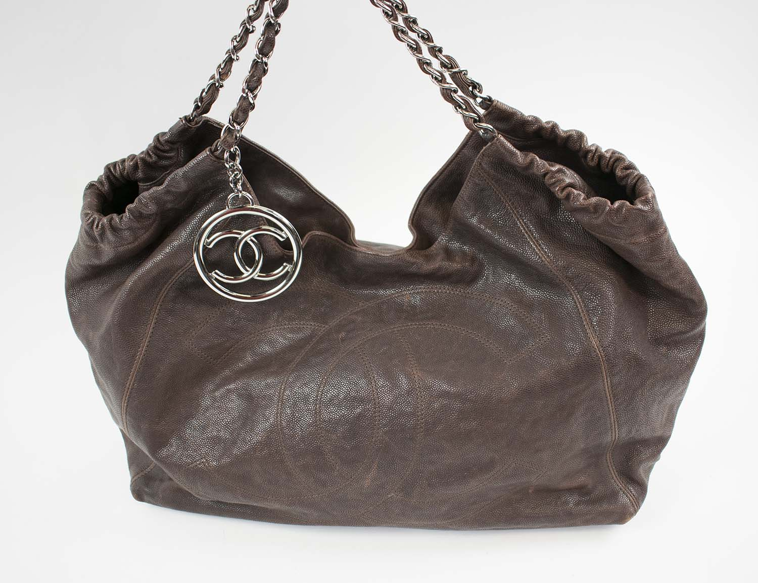 b08106bc8248 CHANEL COCO CABAS HOBO BAG, brown leather grain with silver tone ...
