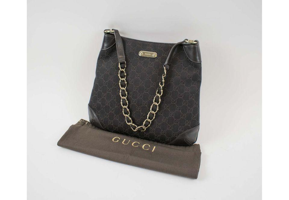 spätester Verkauf online zu verkaufen elegant im Stil GUCCI GUCCISSIMA HOBO BAG, brown canvas with fabric, leather ...
