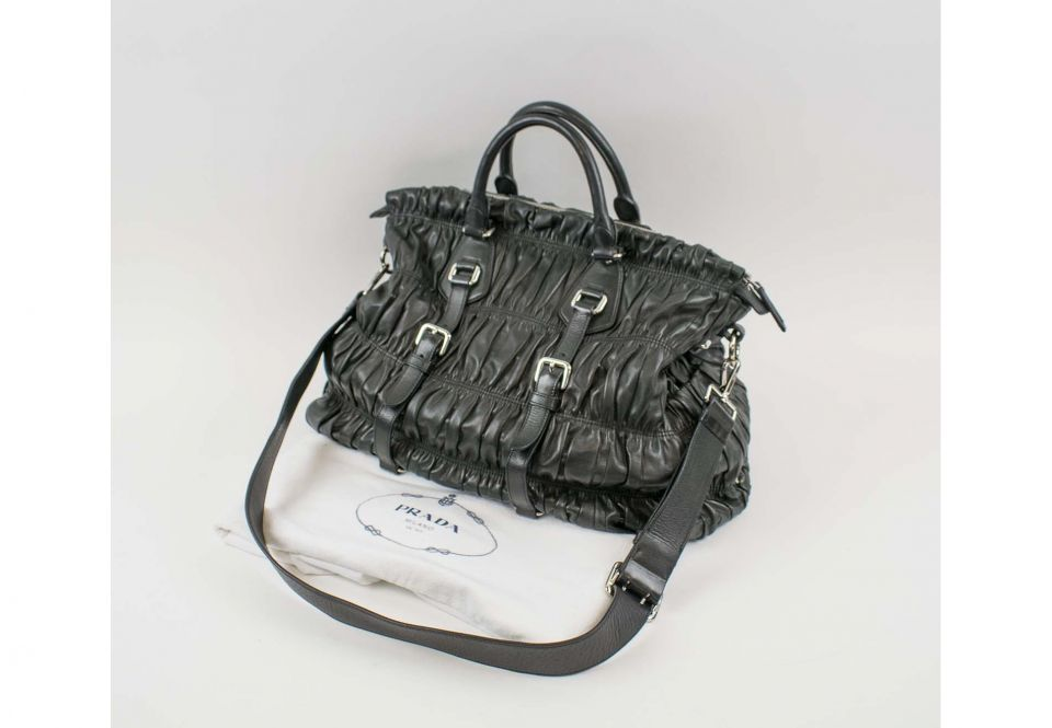 103c103c3b0aa0 PRADA GAUFRE BLACK NAPPA LEATHER TOTE, with double handle and ...