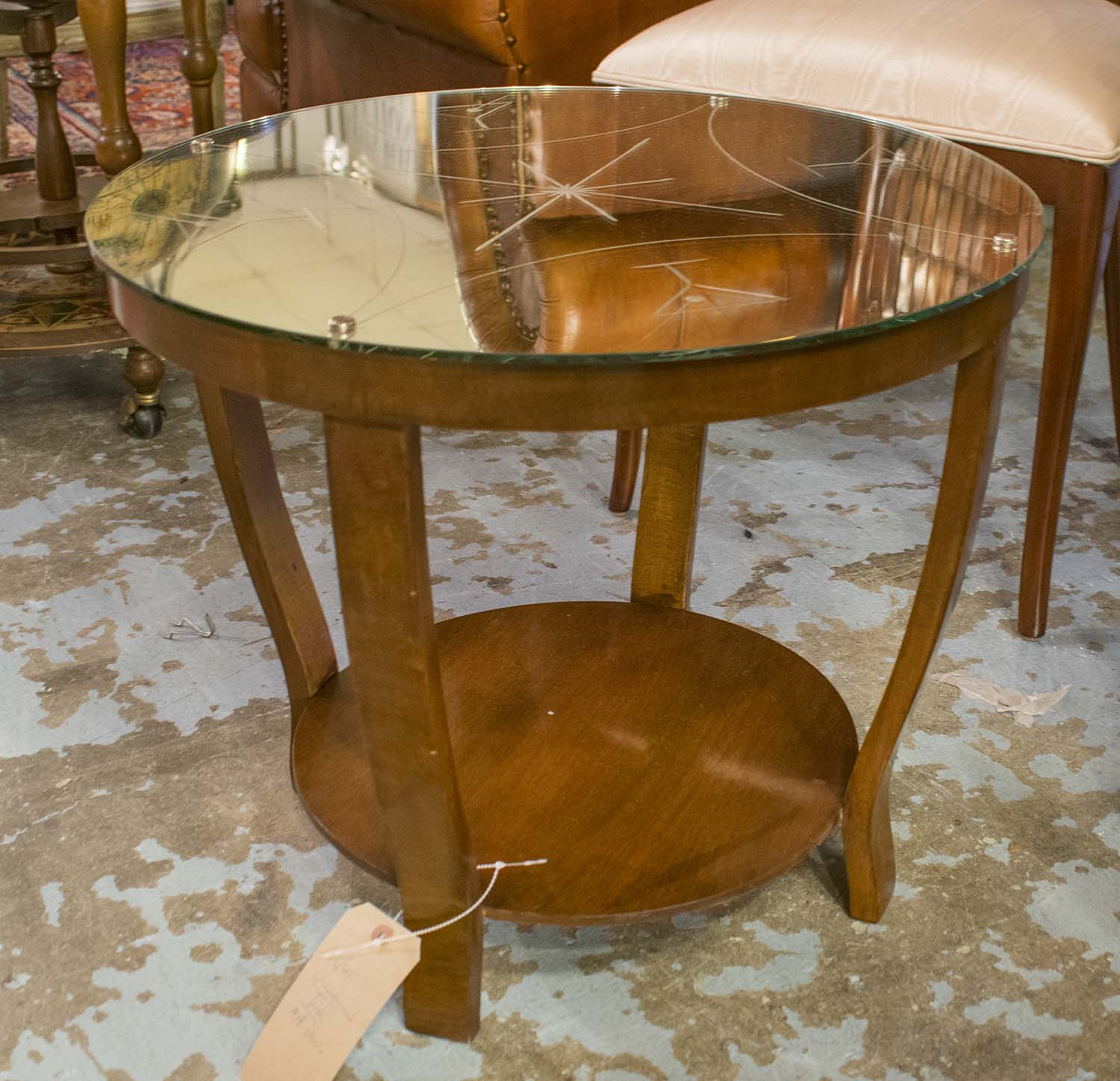Occasional Table Art Deco Circular Walnut With Cocktail Glass  # Muebles Fomento