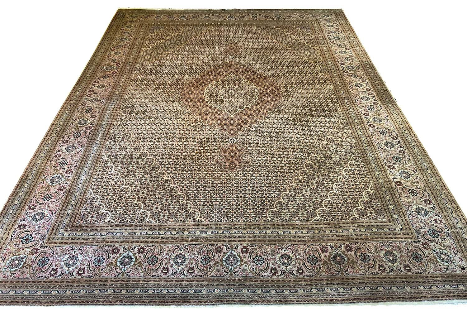 Very Fine Persian Tabriz Mahi Design Carpet 346cm X 252cm Part Silk Concentric Fields Within Complimentary Spandrels And Borders