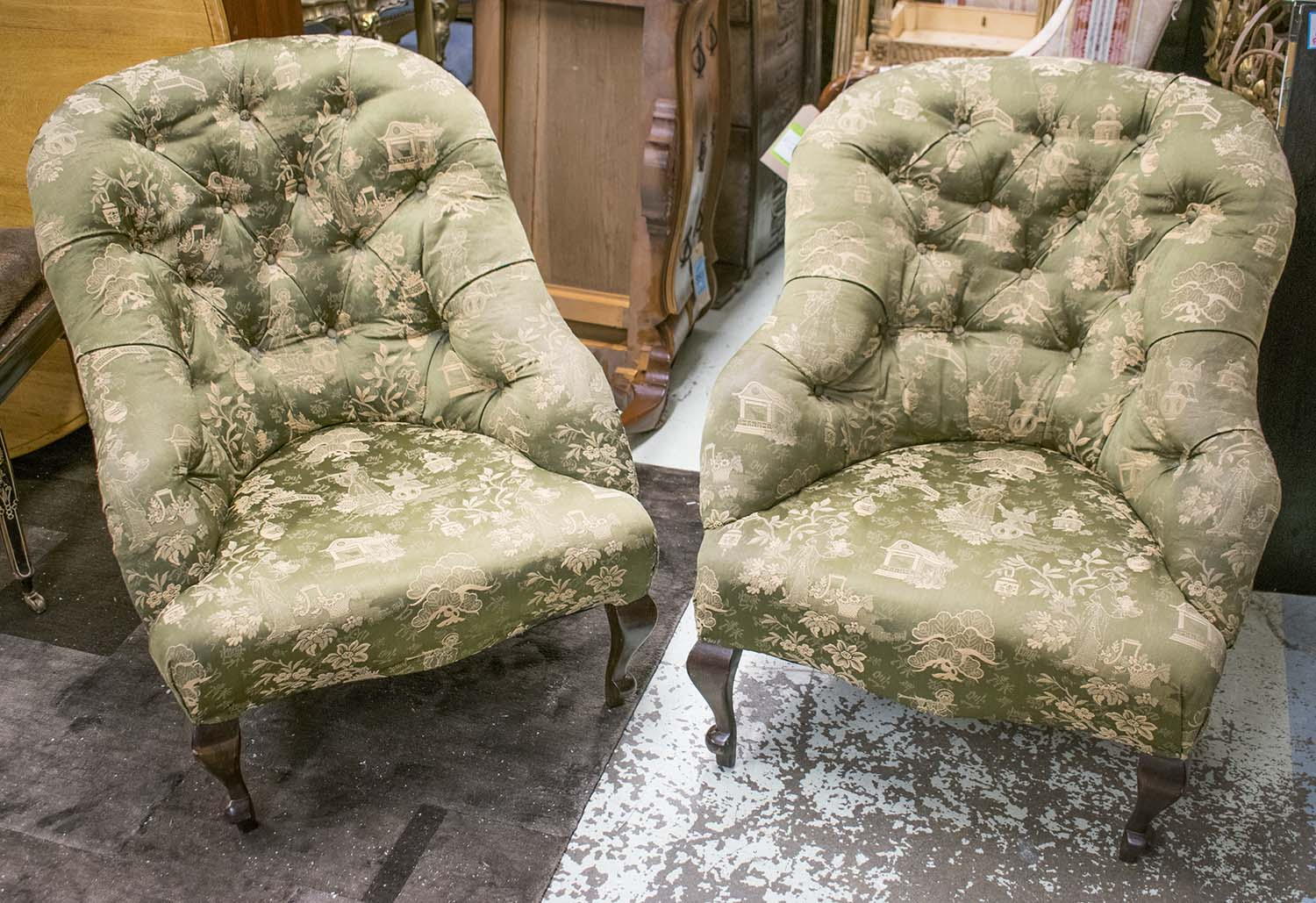 tub armchairs a pair early 20th century french deep buttoned