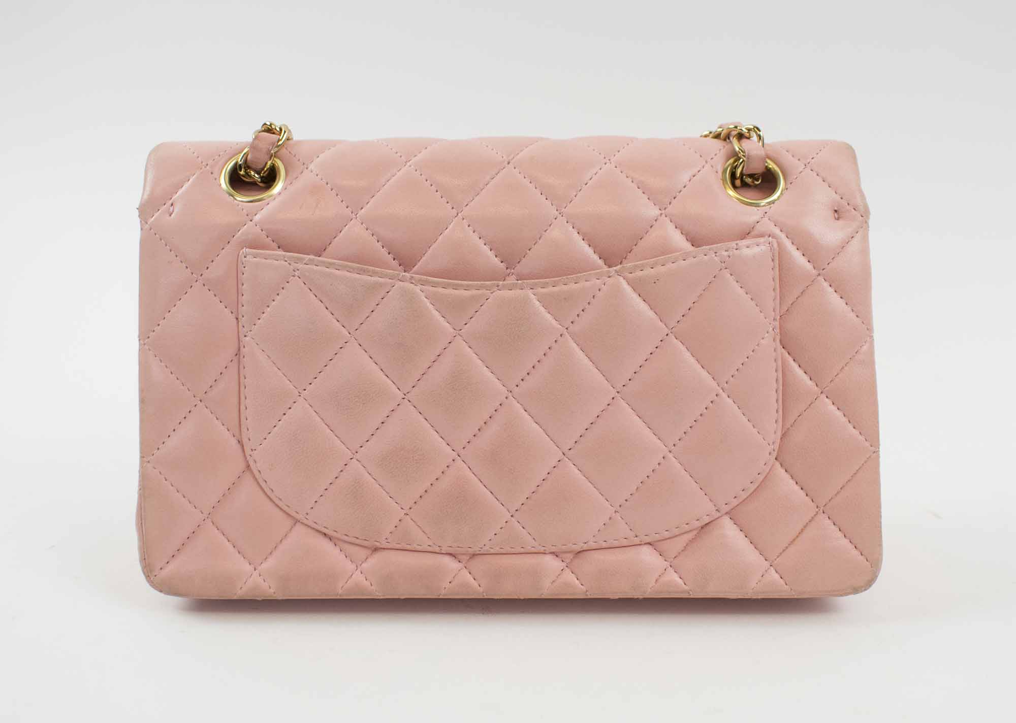 c67a382bd6700b CHANEL SMALL CLASSIC FLAP HANDBAG, with quilted pink leather with  interlocked CC lock, gold tone hardware and leather woven chain strap,  authenticity card ...