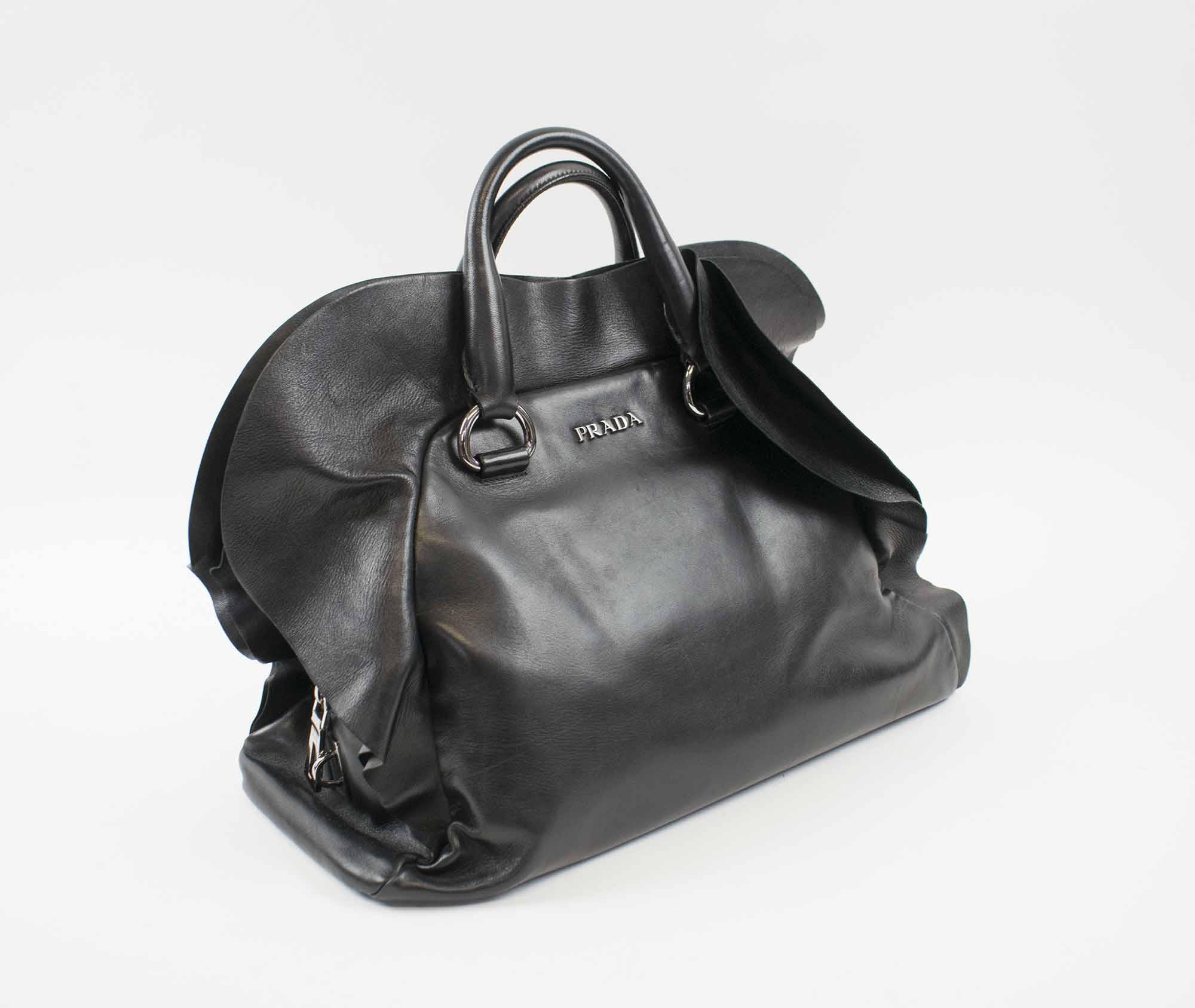 e9f600eaf1cac0 PRADA RUFFLE NAPPA BAULETTO BAG, black leather with silver tone ...