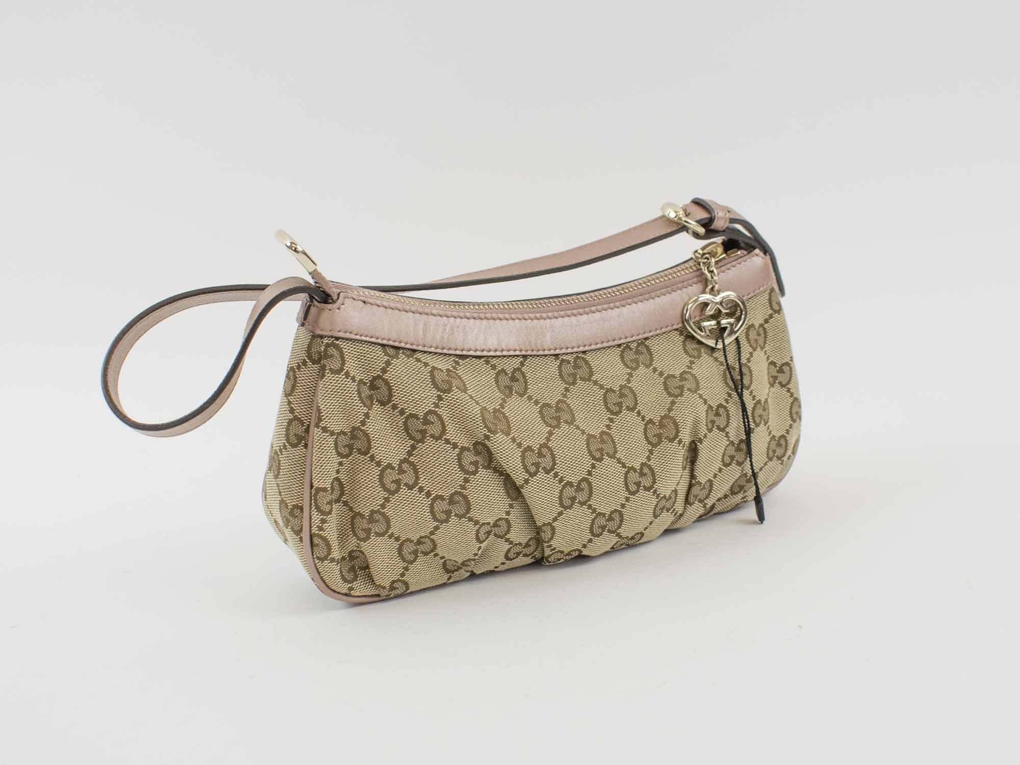 81fa051a958267 GUCCI POCHETTE SHOULDER HANDBAG, GG monogram canvas with metallic ...