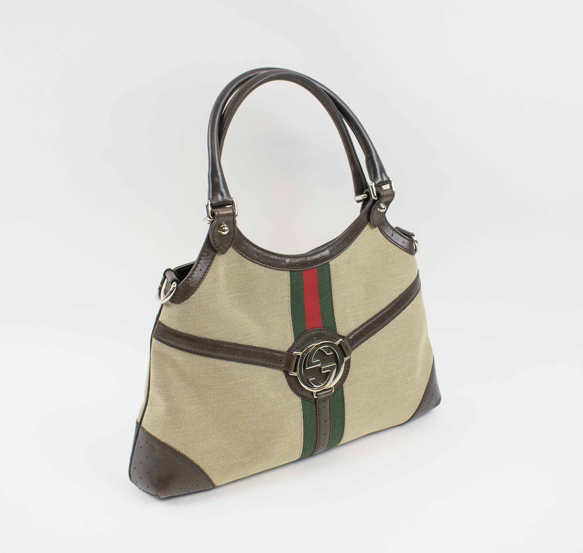 6ed9281286a6d1 GUCCI MONOGRAM REINS HOBO, canvas with brown leather trims and ...