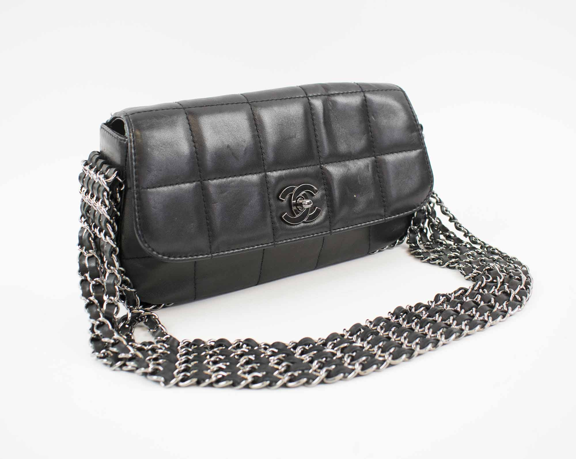 67a815ac2104 CHANEL FIVE CHAIN FLAP BAG, quilted lambskin with five silver tone ...