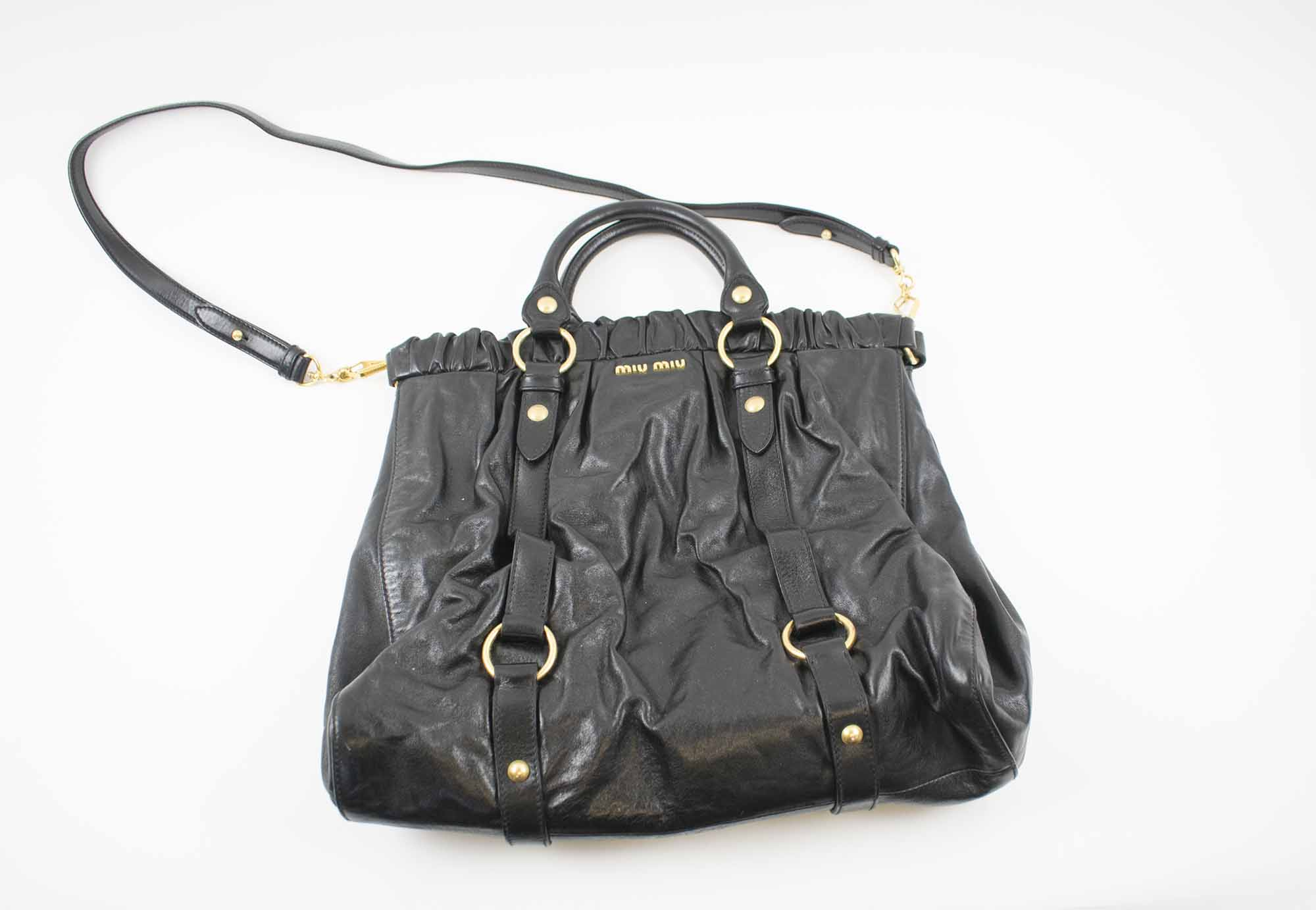 d90b9f280077 MIU MIU VITELLO LUX GATHERED TOTE BAG
