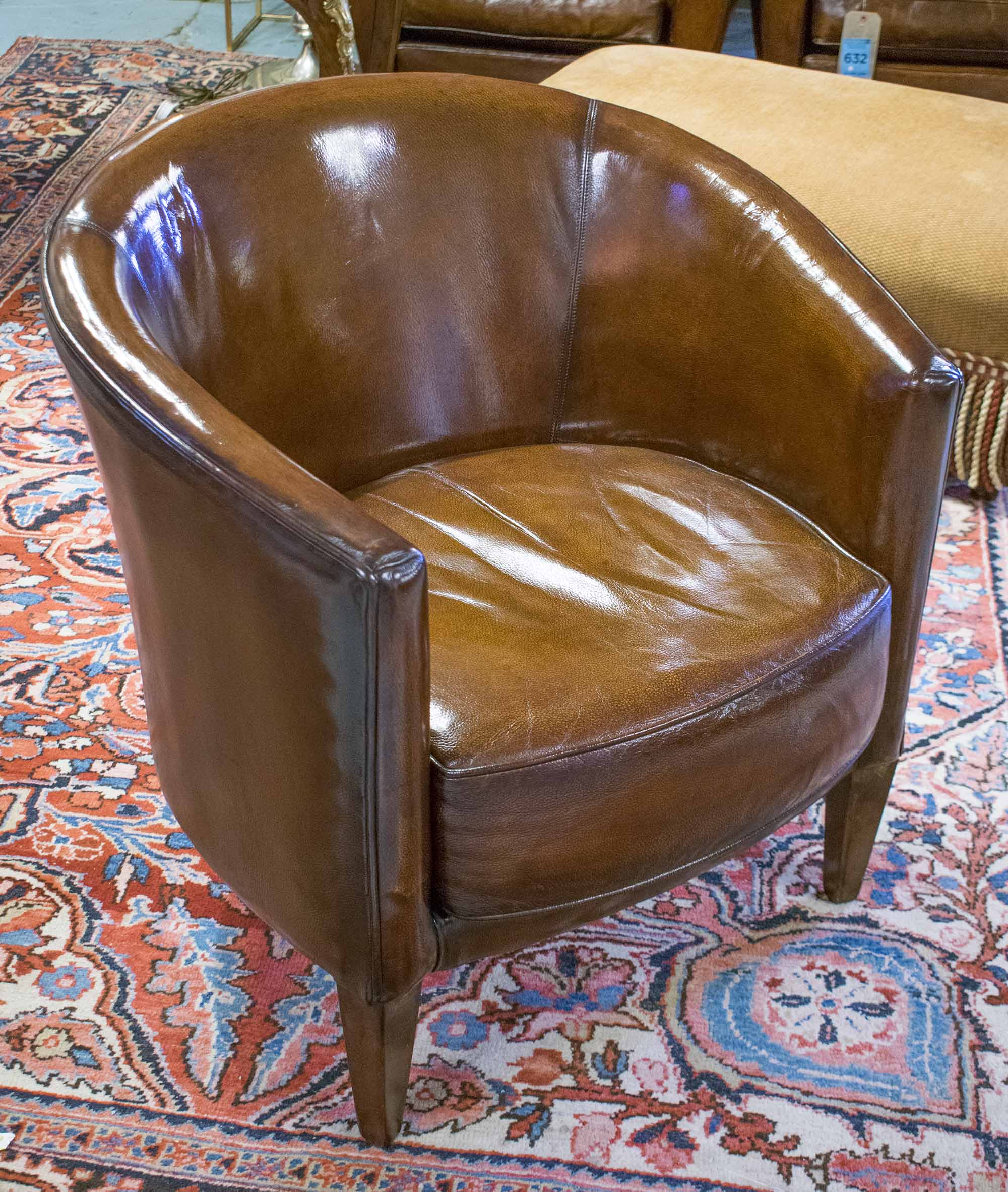 TUB ARMCHAIRS, a pair, stitched hand finished leaf brown ...