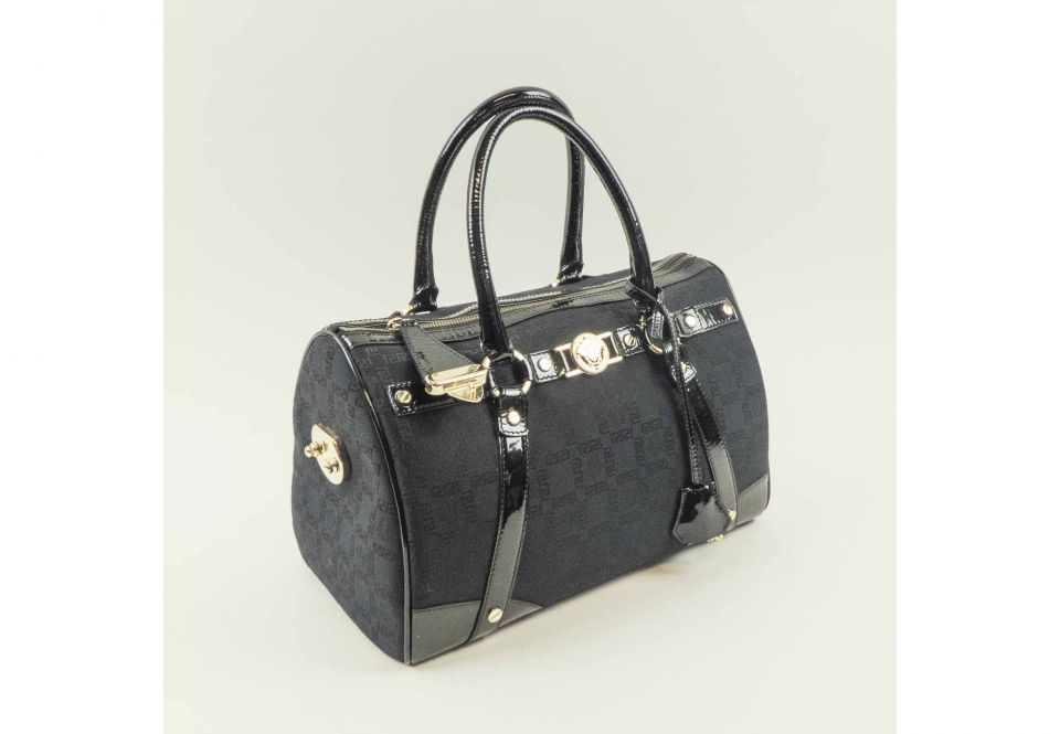 GIANNI VERSACE HANDBAG black fabric with patent leather trims and 2d8c1a742b