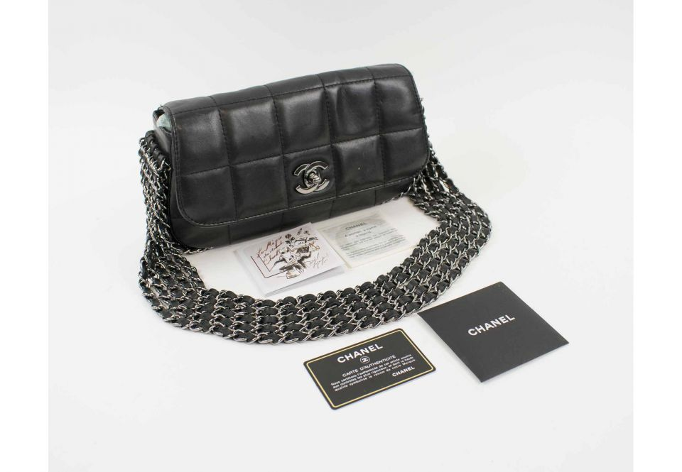 5f5779609ebf CHANEL FIVE CHAIN FLAP BAG, quilted lambskin with five silver tone ...