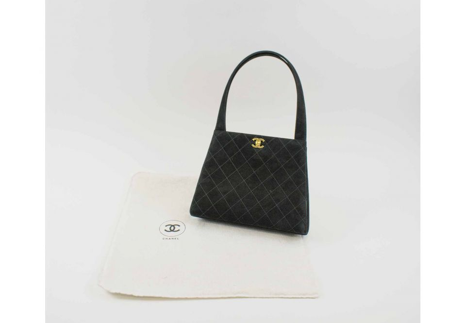 0475daa5a5 CHANEL VINTAGE TRAPEZE SHAPE BAG, black suede quilted pattern with ...