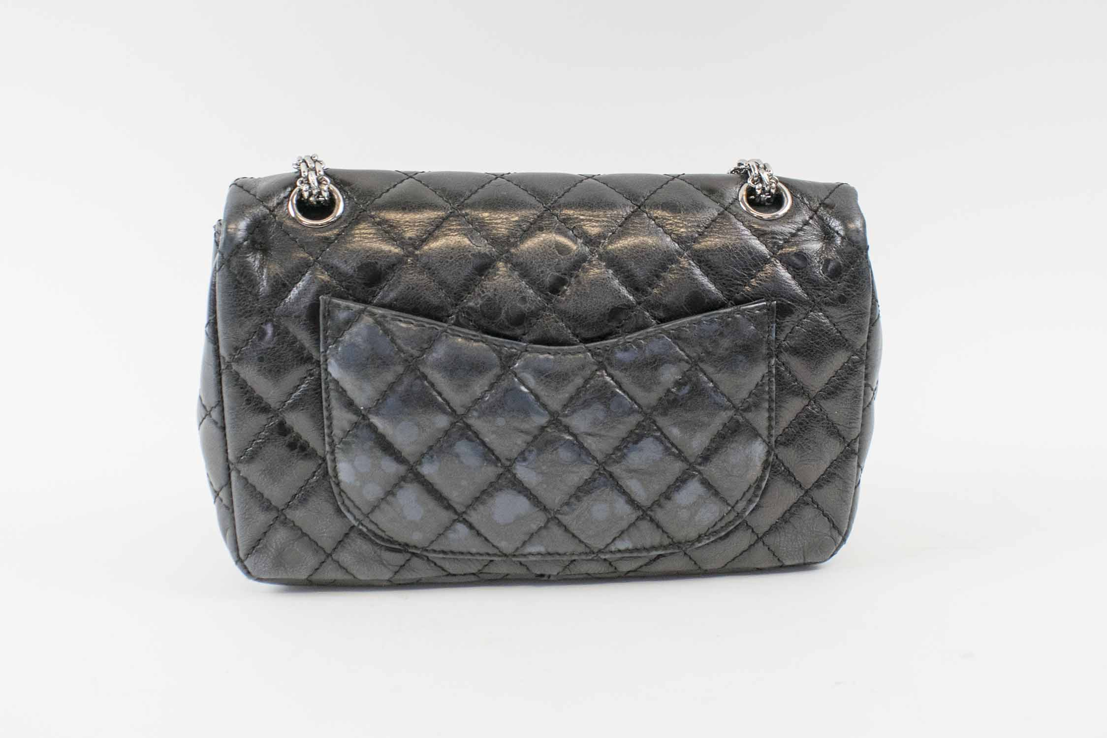 5afafe468d CHANEL REISSUE 2.55 DOUBLE FLAP HANDBAG, black leather with black ...