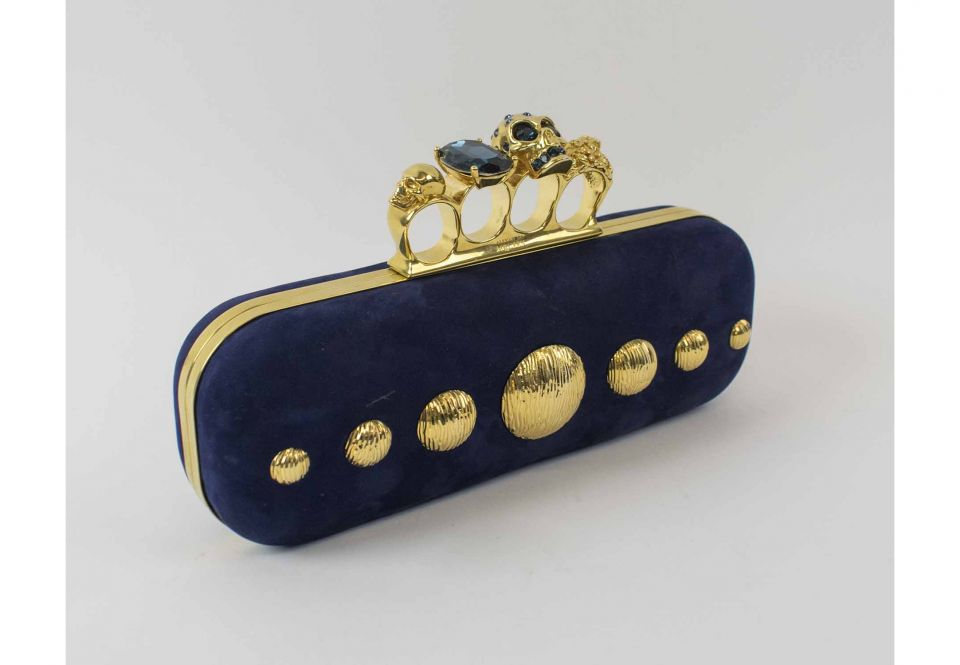3e1d499b04ea5 ALEXANDER MCQUEEN CLUTCH, navy nappa leather with iconic knuckle ...