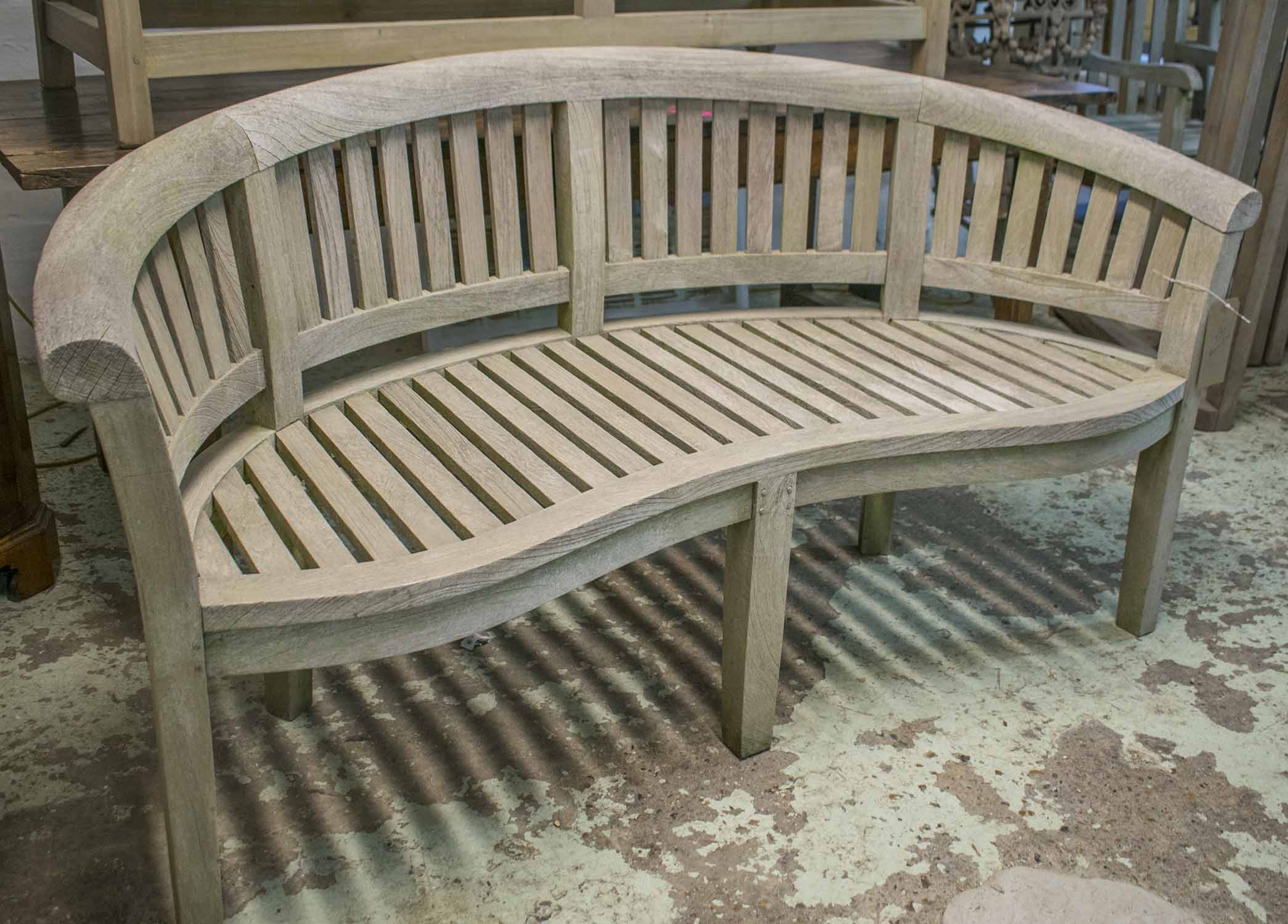 Peachy Banana Garden Bench Weathered Teak Of Slatted Construction Pabps2019 Chair Design Images Pabps2019Com