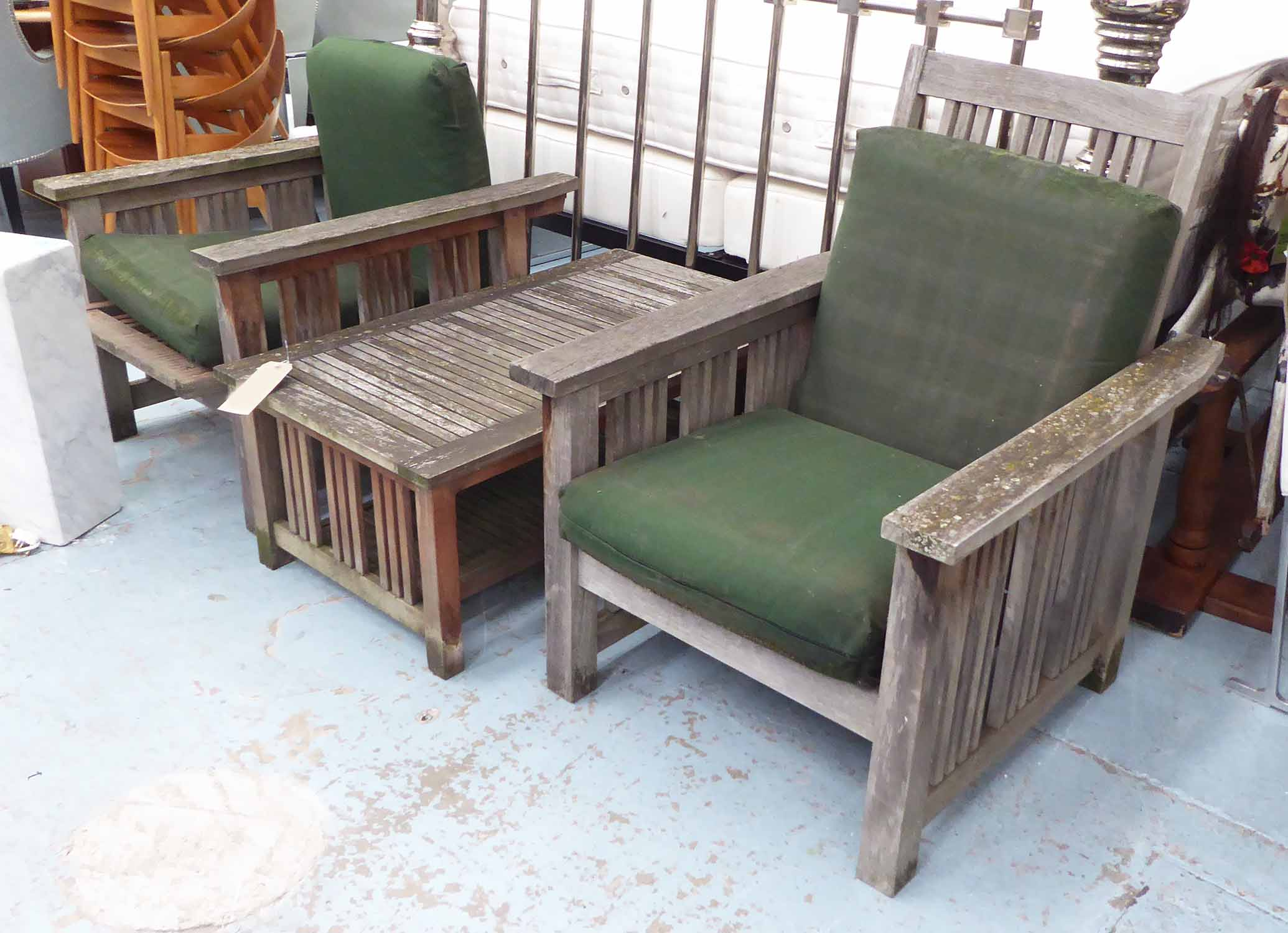 BARLOW TYRIE WEATHERED TEAK GARDEN SET, including a pair ...