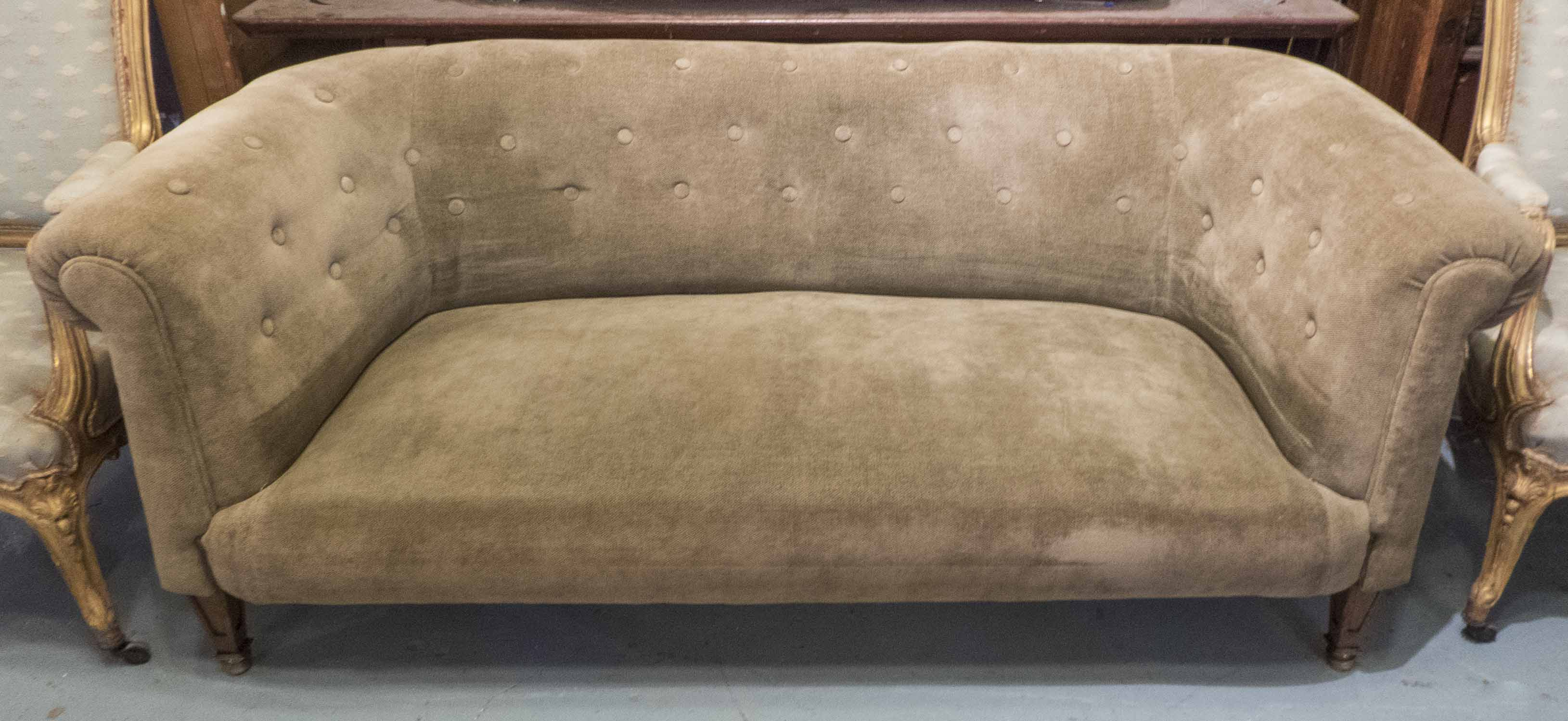 Chesterfield Sofa Early 20th Century Edwardian Taupe Soft Woven