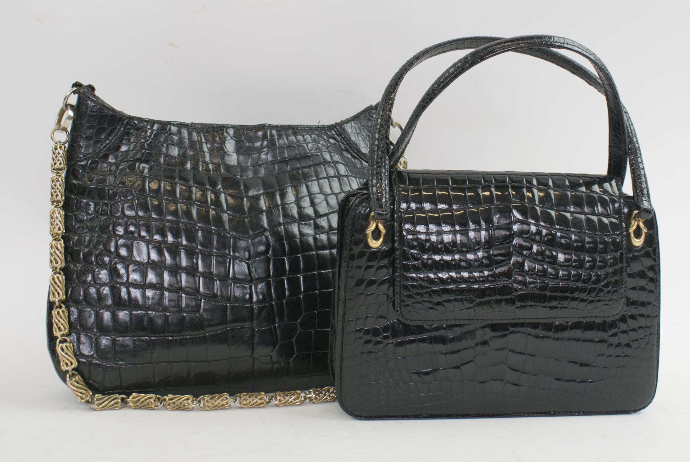 47b17b2ff5a524 GUCCI VINTAGE CROCODILE BAGS, one with two top handles and flap ...