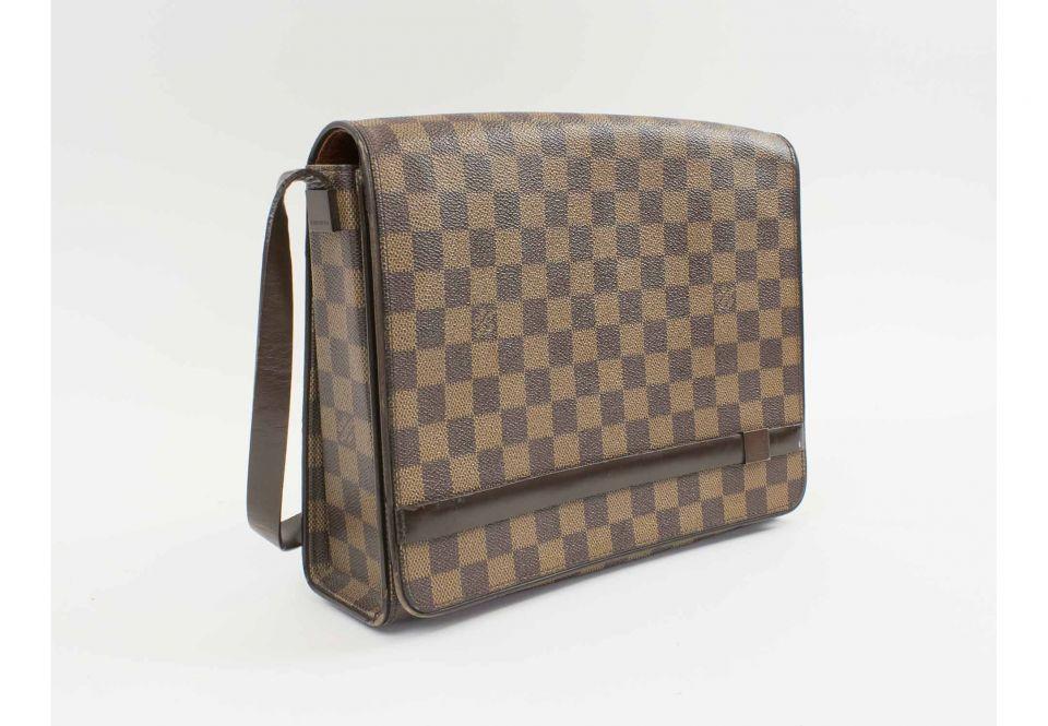 c75656e74fced LOUIS VUITTON DAMIER EBENE TRIBECA SHOULDER BAG, with brown leather ...