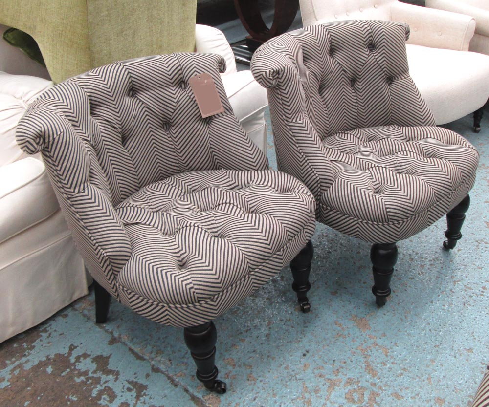 bedroom chairs a pair with buttoned herringbone