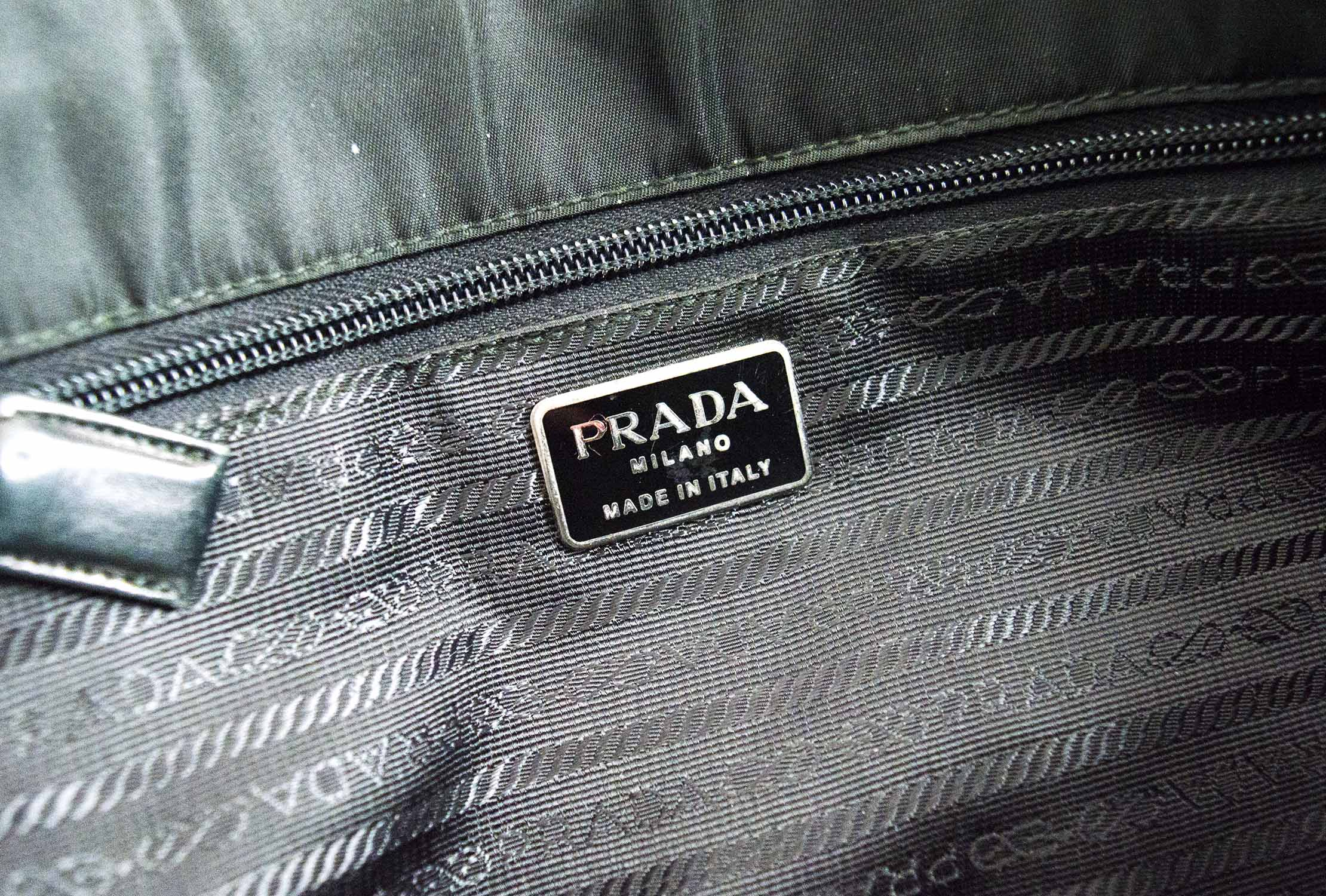 4556110827c0 PRADA VINTAGE NYLON TOTE, black nylon with iconic monogram fabric matching  interior, leather and chain shoulder strap, silver tone hardware, ...