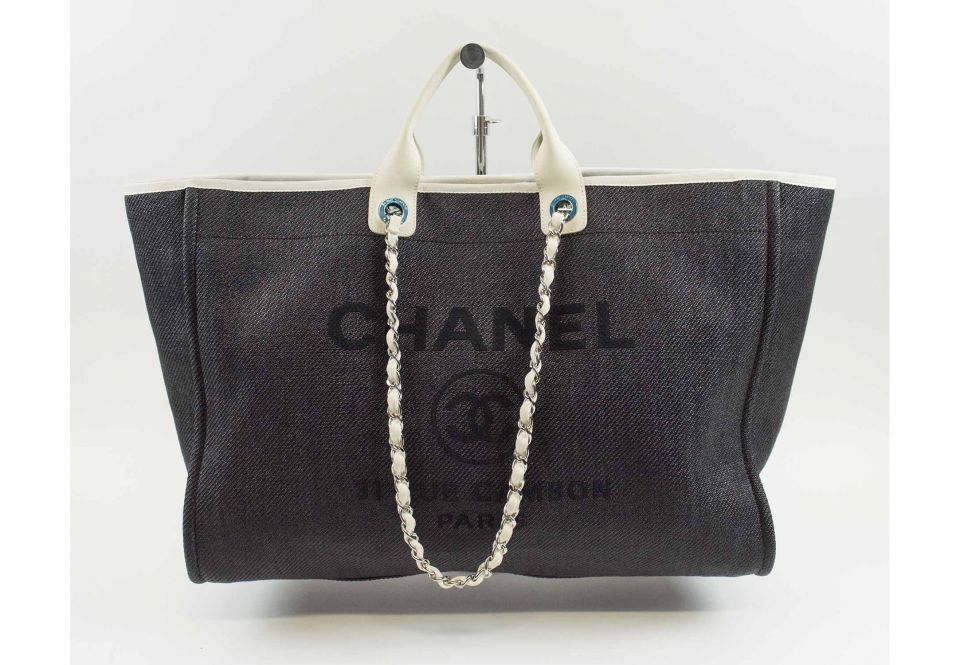 97cb3477befb CHANEL DEAUVILLE LARGE TOTE, dark denim canvas with blue front logo ...