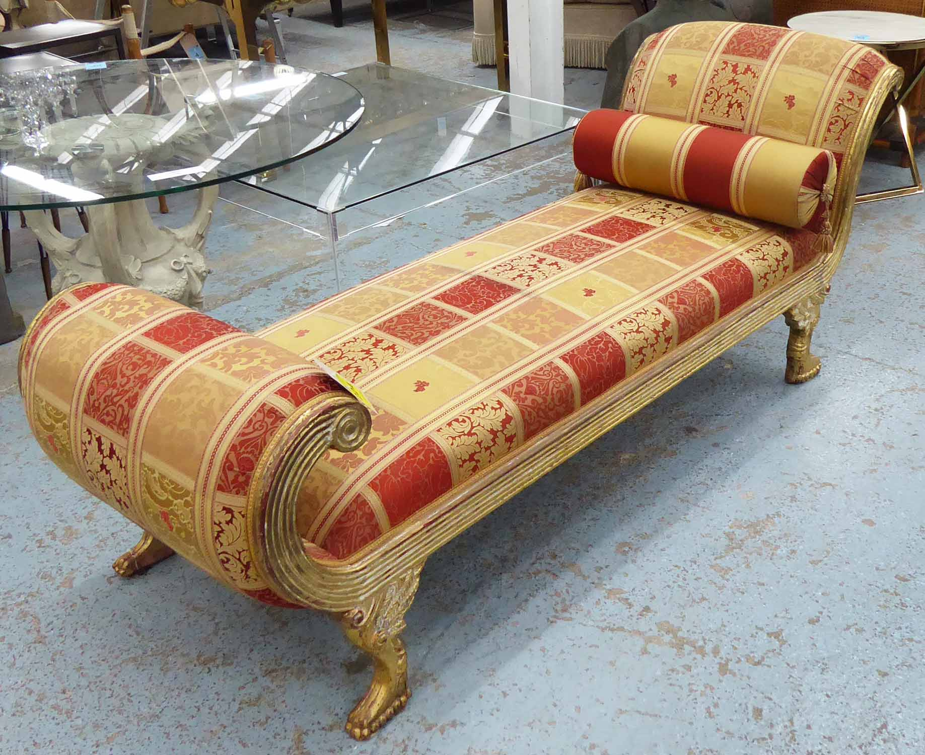 CHAISE LOUNGE, Hollywood Regency style, giltwood frame ...