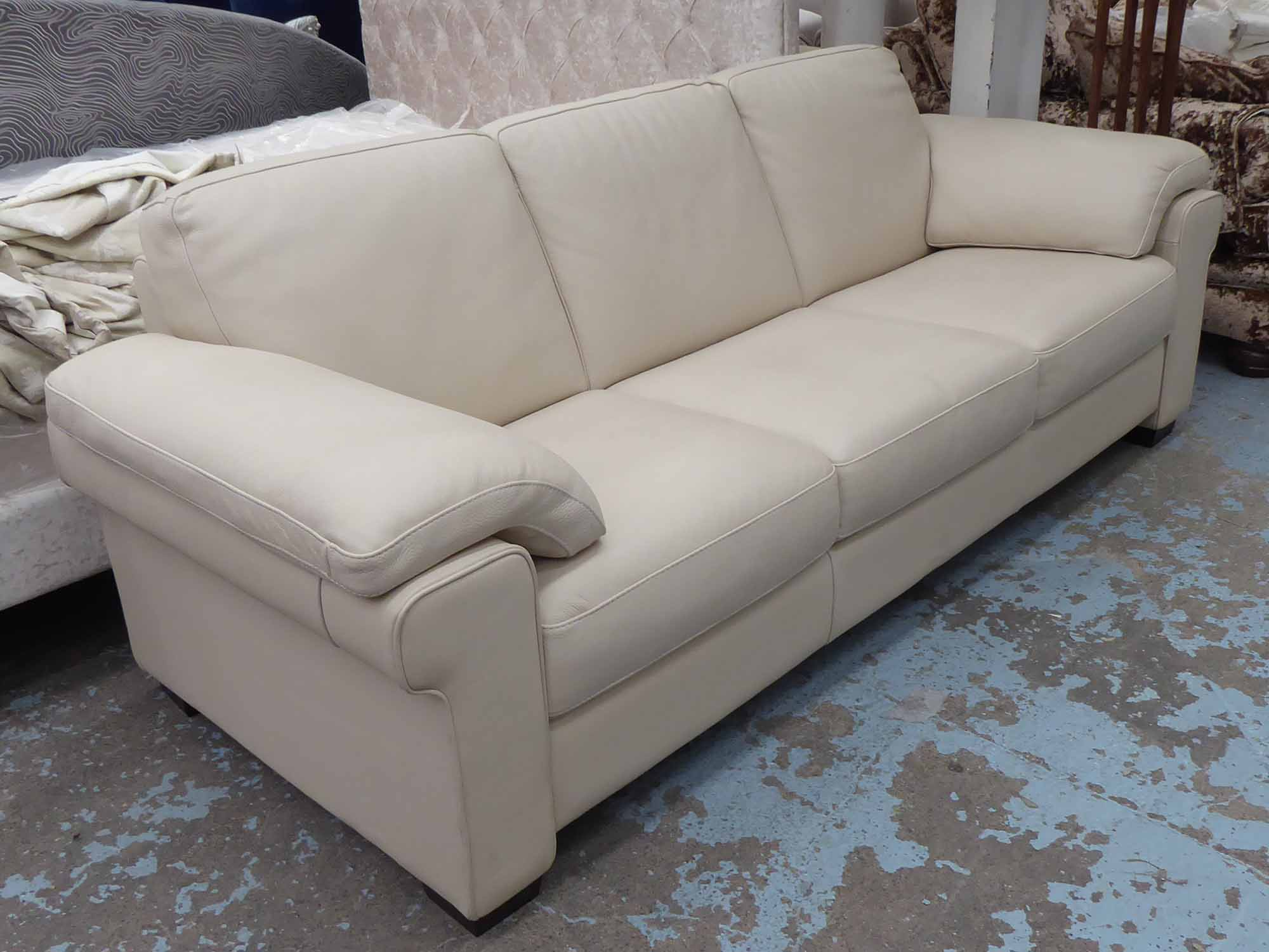 Picture of: Natuzzi Sofa Three Seater Cream Leather 230cm W X 92cm D