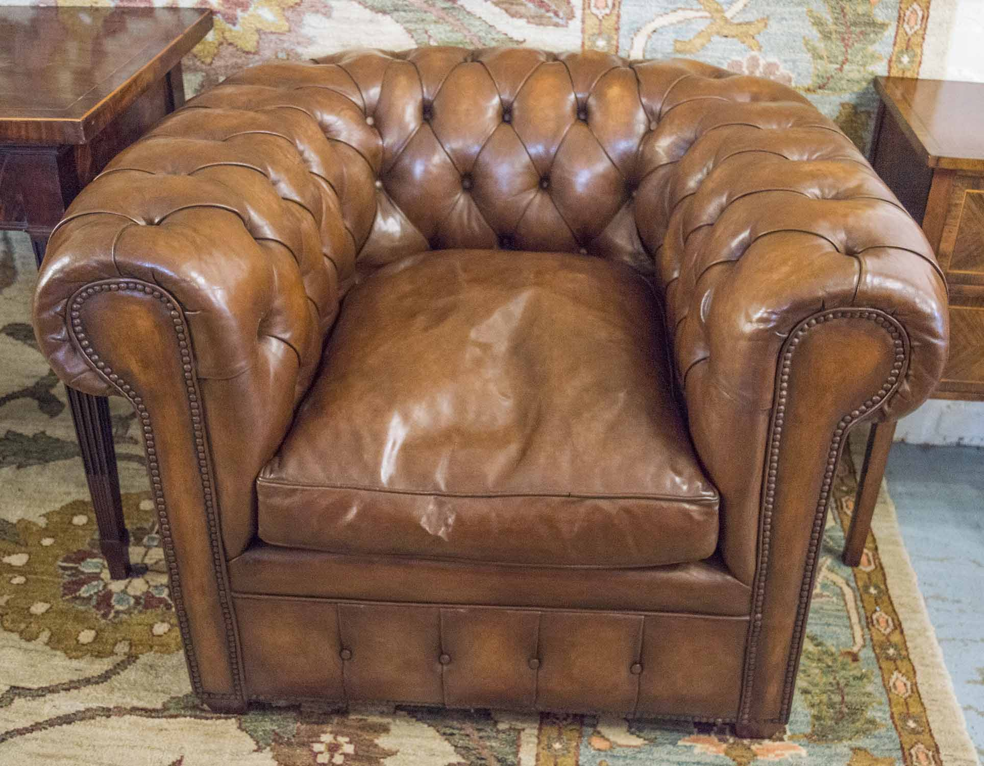 CHESTERFIELD ARMCHAIRS, a pair, 1970's style deep button ...